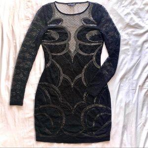 EXPRESS▪️Black Mesh Long Sleeve Dress
